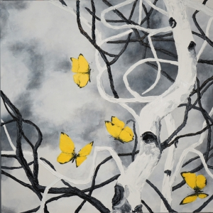 13.Aspen and Yellow butterflies 24x24 $650