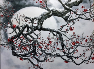 Plum Blosson In Snow